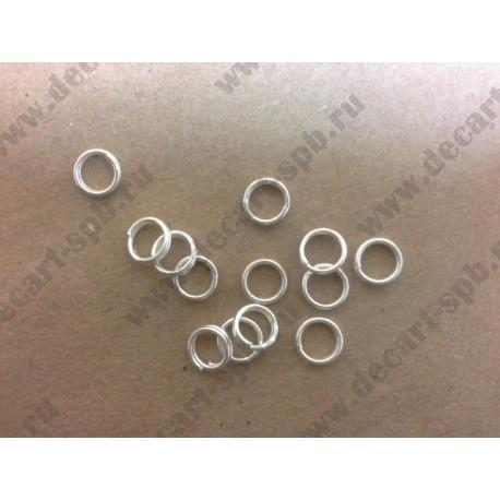 5-1 Кольцо для бус двойное цвет - серебро 5 мм 10 шт