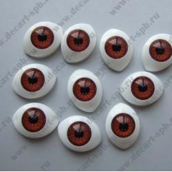 Глазки для кукол 20х15мм зрачок 10мм коричневый