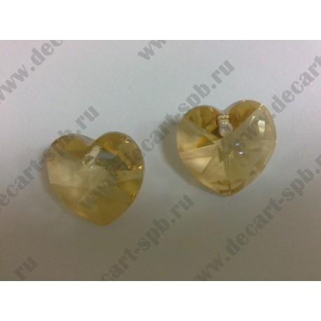 Подвеска 6202 сердечко Crystal Golden Shadow 18x17.5мм