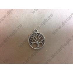 Подвеска Дерево в круге цвет - ант серебро
