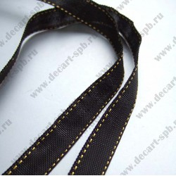 Лента парфюмерная 10 мм вискоза черная желтые стежки 50 см