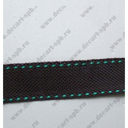 Лента парфюмерная 10 мм вискоза черная зеленые стежки 50 см