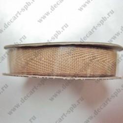 Лента принтованная точечки 10 мм какао 50 см