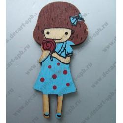 Деревянная девочка в синем платьице 3х5,8 см