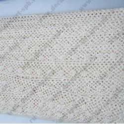 Тесьма вязанная ажурная 2 см бежевая, длина 50 см