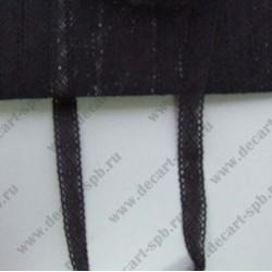 Тесьма вязанная ажурная 1,2 см черная, длина 50 см