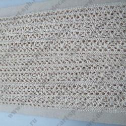 Тесьма вязанная ажурная 1,5 см бежевая, длина 50 см