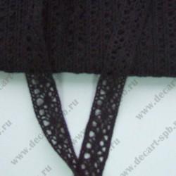 Тесьма вязанная ажурная 1,5 см черная, длина 50 см