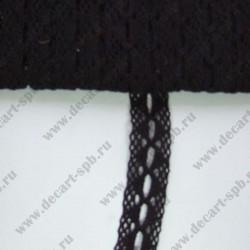 Тесьма вязанная ажурная 2.5 см черная, длина 50 см