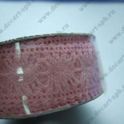 Тесьма кружевная 2 см розовая , длина 50 см