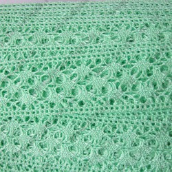 Тесьма кружевная 4 см нежно зеленая, длина 50 см