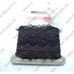 Тесьма кружевная со сборкой 3 см черная, длина 50 см