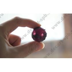 Бусина стеклянная, полая, фиолетовая, в точку, 20 мм