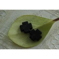 Бусина имитация бирюзы Крест, цвет - черный, 20х20мм, 1шт