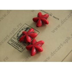 Бусина имитация бирюзы Морская звезда, цвет - красный, 20мм