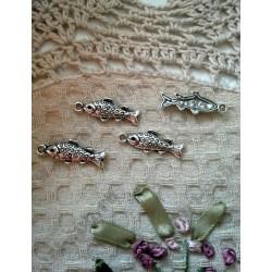Подвеска Рыба 28х10мм цвет - античное серебро, 1шт