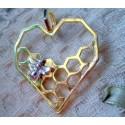 Подвеска Соты-сердечко с пчелкой, 41х35мм, цвет - серебро, золото, 1шт
