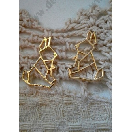 Подвеска Заяц-оригами, 24х16мм, цвет - золото, 1шт