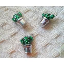 Подвеска Зеленый кактус в горшке, 15х11мм, эмаль, цвет - серебро, 1шт