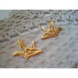 Подвеска Журавлик-оригами, 29х23мм, цвет - золото, 1шт
