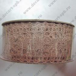 Тесьма кружево симметричное 2,3см коричневая, длина 50 см