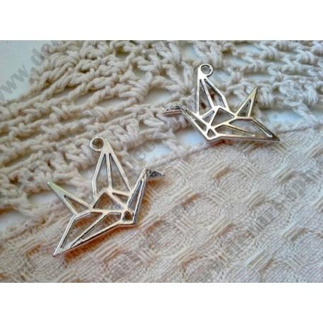 Подвеска Журавлик-оригами, 29х23мм, цвет - серебро, 1шт