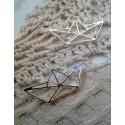 Подвеска Лодка-оригами, 31х14мм, цвет - серебро, 1шт