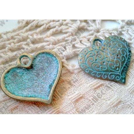 Подвеска Сердце с узором, 27х26мм, цвет - античная бронза с патиной, 1шт