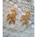 Подвеска Единорог-оригами, 30х30мм, цвет - золото, 1шт