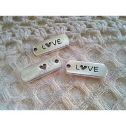 Подвеска Прямоугольник с надписью love, сквозное сердечко, 21х8мм, цвет - античное серебро, 1шт