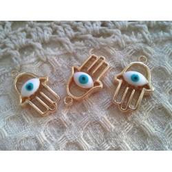 Ладонь Хамса с белым глазом, 25х15мм, цвет - золото, эмаль, 1шт