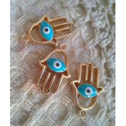 Ладонь Хамса с голубым глазом, 25х15мм, цвет - золото, эмаль, 1шт