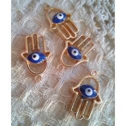 Ладонь Хамса с синим глазом, 25х15мм, цвет - золото, эмаль, 1шт