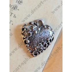 Подвеска Сердце 20х17мм, цвет - античное серебро