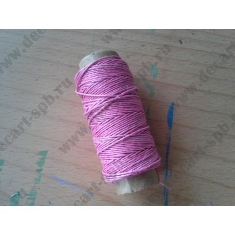 Нитка пеньковая для плетения 1мм толщина 18 м, бледно-розовый