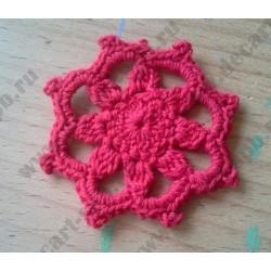 Вязанный цветок 55мм, красный