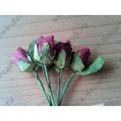 Розы из бумаги, бутон (6 шт), кремовый, 10*1 см