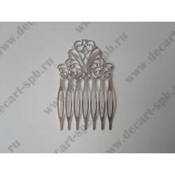 Заколка-гребень, 65х37мм, цвет - серебро