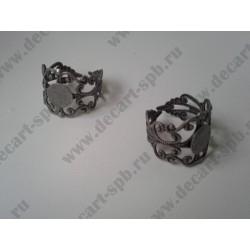 Основа для кольца филигрань 18мм с площадкой 8мм, цвет - ант серебро