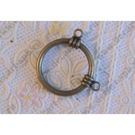 Декоративный элемент коннектор, ант. бронза, 30 мм