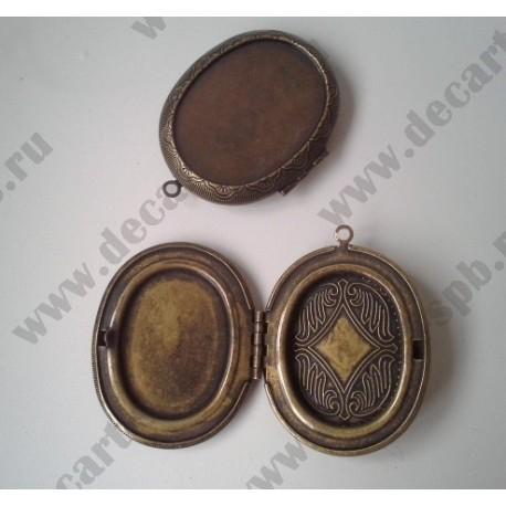 Подвеска - медальон 50х40мм, цвет - бронза