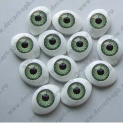 Глазки для кукол 12х8мм зрачок 6мм зеленый пара