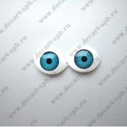 Глазки для кукол 15х11мм зрачок 8мм голубые пара