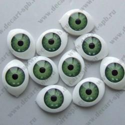Глазки для кукол 15х11мм зрачок 8мм зеленый, пара