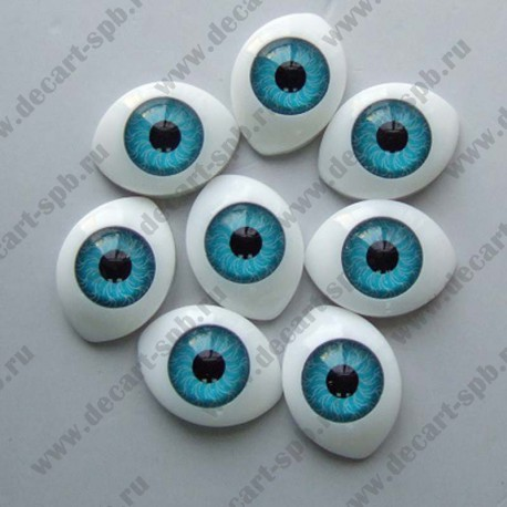 Глазки для кукол 20х15мм зрачок 10мм голубой