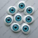 Глазки для кукол 20х15мм зрачок 10мм голубой, пара