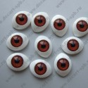 Глазки для кукол 20х15мм зрачок 10мм коричневый, пара