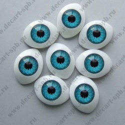 Глазки для кукол 24х16мм зрачок 12мм голубой пара