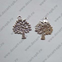 """Подвеска """"дерево с листьями"""" 29х23мм ант серебро"""