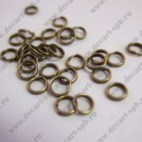 Кольцо для бус 6мм (бронза) 25 шт